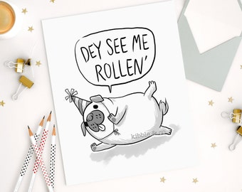 Pug Art Card, Birthday Cards, Greeting Cards, Cute Card, Cute Dogs, Dogs, Line Art, Hand Drawn, Derp, Card, Party Quotes