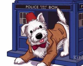 Doctor Who Prints, Eleventh Doctor, Westie Art, Westie Dog, Doctor Who Art, Tardis Art, Matt Smith, Matt Smith Fez, Doctor Who Illustration