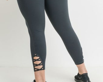 JP Activewear Plus Size Criss Cross Leggings