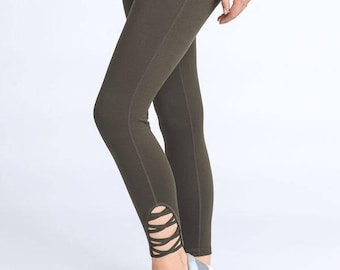 Womens Workout Legging, Chic Black & Olive Leggings, Pilates Leggings, Yoga Leggings, Fashion Leggings