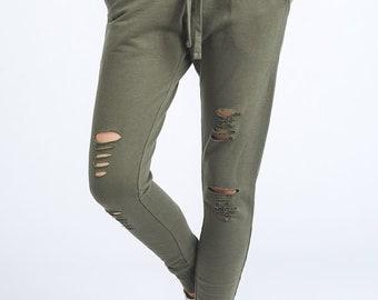 JP Activewear Sweatpants - Comfy Joggers | Boho Lounge Pants | Lounging Pants | Olive Jogger Sweatpants | Everyday Lounge Skinny Sweatpants