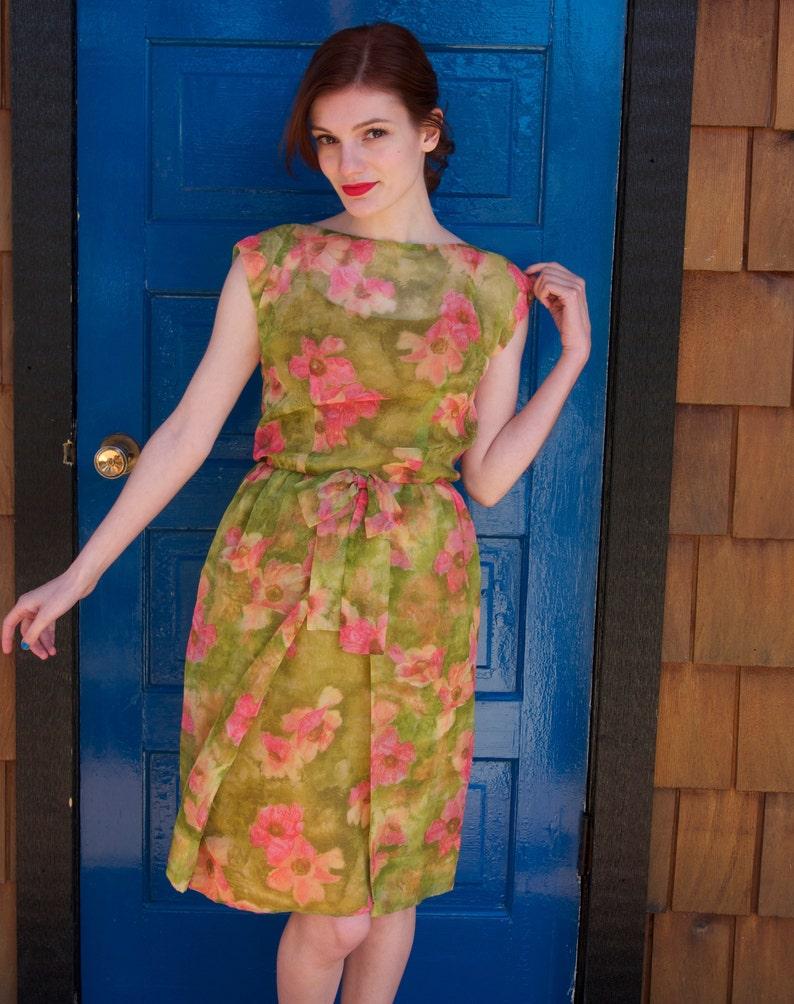 09a10906fa 1960s Dress / Cocktail Garden Party / Floral Chiffon Sheath Dress / Mad Men  Style / Vintage 60s