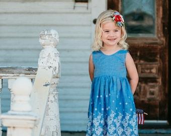 Blue cotton eyelet dress