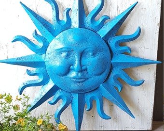 Large Metal Sun Wall Art Turquoise Antique Brasss Garden Decor Metal Sun Face Decor Metal Garden Wall Hanging Wall Decor Sun Face wall art : wall art sun - www.pureclipart.com