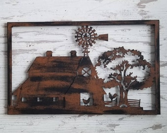 Farm Scene Picture Wall Art Farmhouse Decor Window House Barn Tractor Rustic Windmill