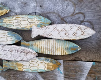Fish Wall Decor/ Coastal Decor/ Metal Fish Decor/ Beach House Wall Art/  Galvanized Metal Wall Art/ Fish Wall Art / Nautical Wall Art