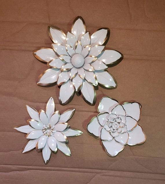 3 Large Metal Flower Wall Art Garden Flower Wall Decor Metal Etsy