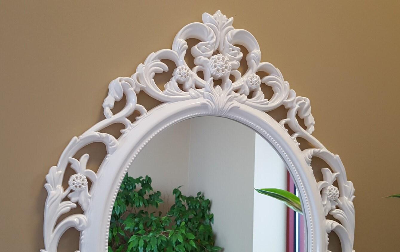 miroir de salle de bain shabby chic ovale miroir miroir de. Black Bedroom Furniture Sets. Home Design Ideas
