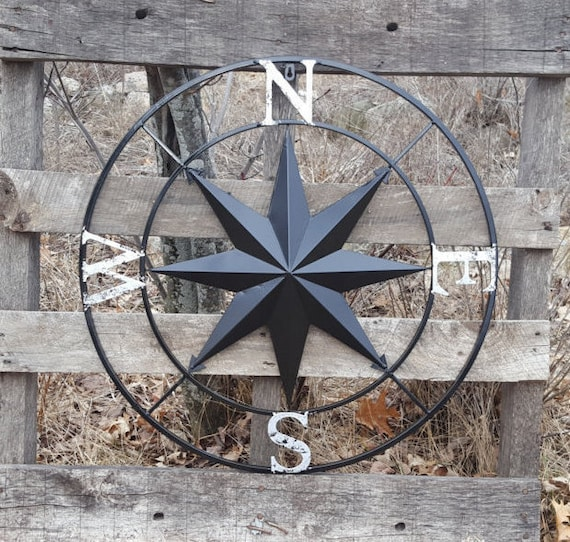 Compass Rose Large Metal Wall Art Nautical Wall Art Etsy
