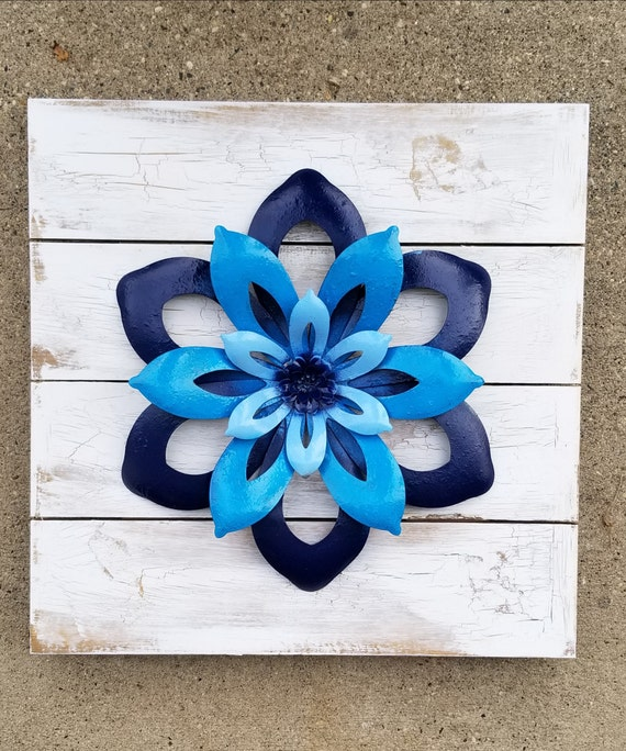 Reclaimed Wood Wall Art Metal Wall Art Metal Flower Wall Etsy