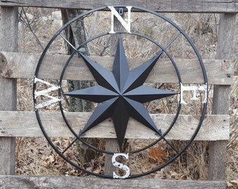 Nautical Wall Compass   Compass Rose   Metal Nautical Compass   Black Wall  Art  Metal
