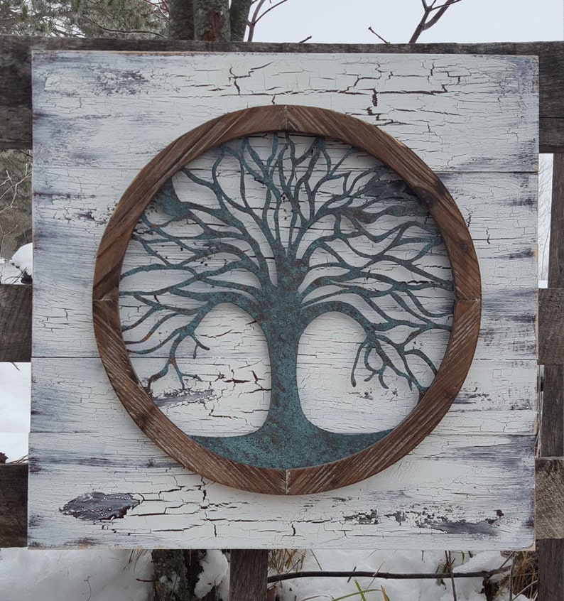 Reclaimed Wood Tree Of Life Wall Art Metal Wall Art Metal Tree Wall Art Tree Of Life Wall Decor Tree Wall Decor Tree Wall Art