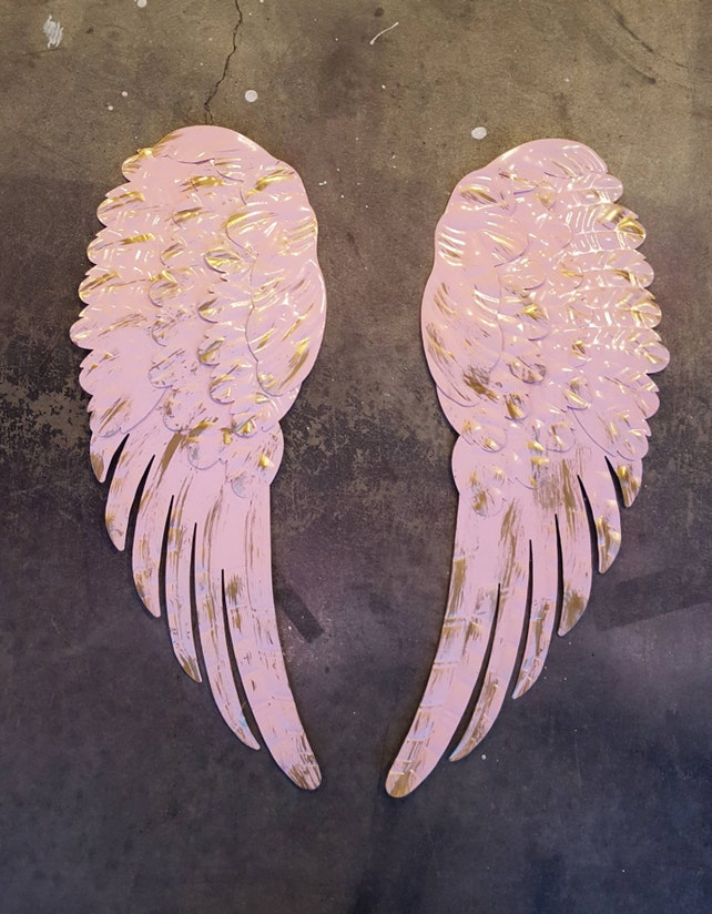 Metal Angel Wings Wall Decor Shabby Chic Pale Pink with Gold | Etsy