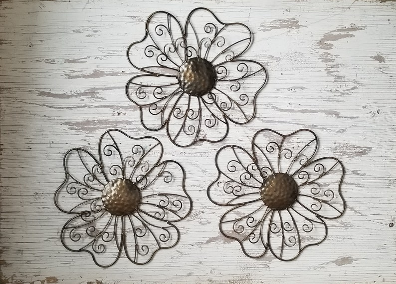 Wire Flowers | Free Shipping Metal Wall Flower Wall Art Fence Flower Wire Etsy