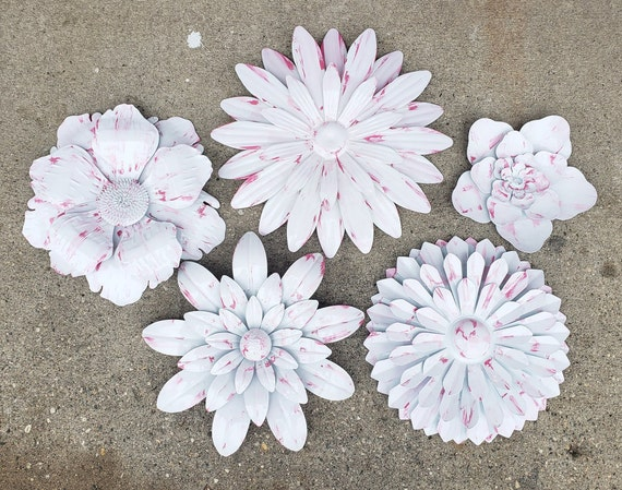 Pink Nursery Flower Wall Decor Fence Flowers Outdoor Metal Etsy