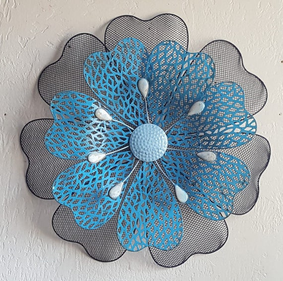 Wall Art Metal Flower Wall Art Flower Decor Flower Wall Decor Etsy