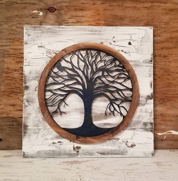 Reclaimed wood Tree of life Wall Art Metal Wall Art Metal | Etsy