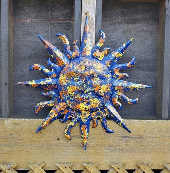 Sunface Wall Decor Garden Decor Metal Sun Wall Art Outdoor Etsy