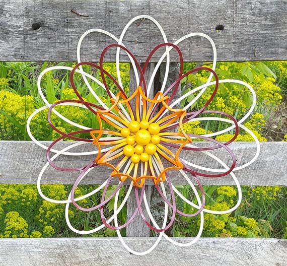 Large Metal Flower Wall Art Flower Wall Decor Garden Fence Etsy