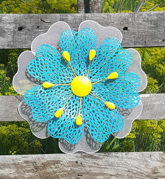 Metal wall Flower Wall Art Fence Flowers Wire Flower wall | Etsy