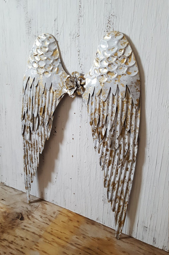 Shabby Chic Metal Angel Wings Wall Decor Rustic Angel Wings Etsy