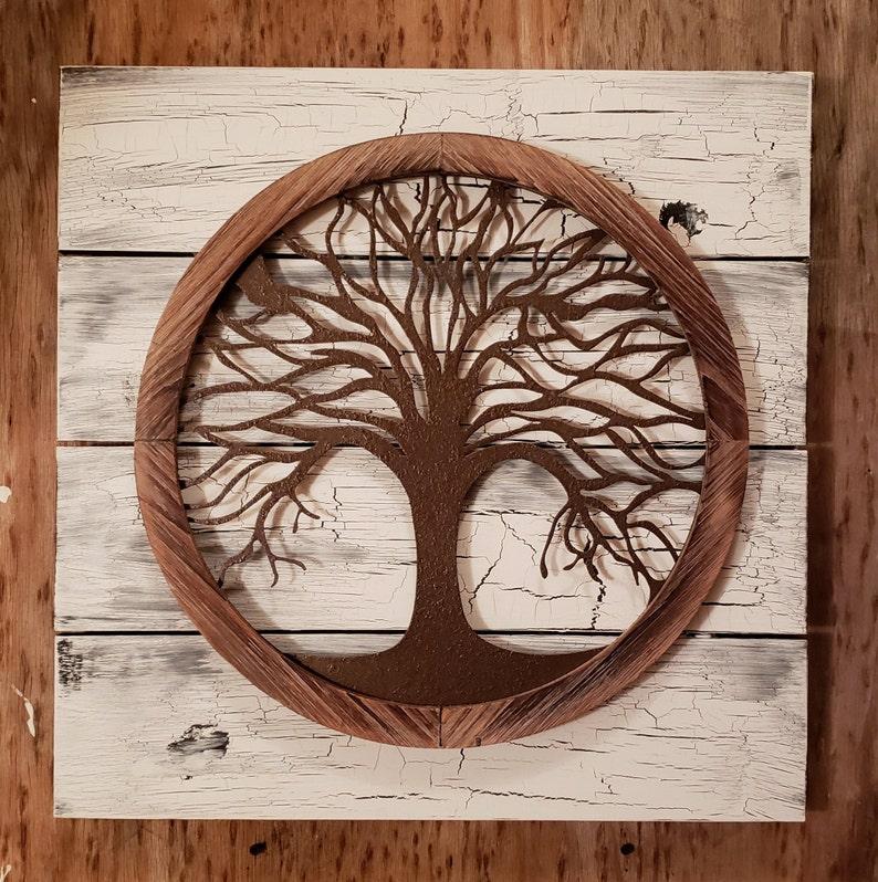 acd8658ee35 Reclaimed wood Tree of life Wall Art Metal Wall Art Metal