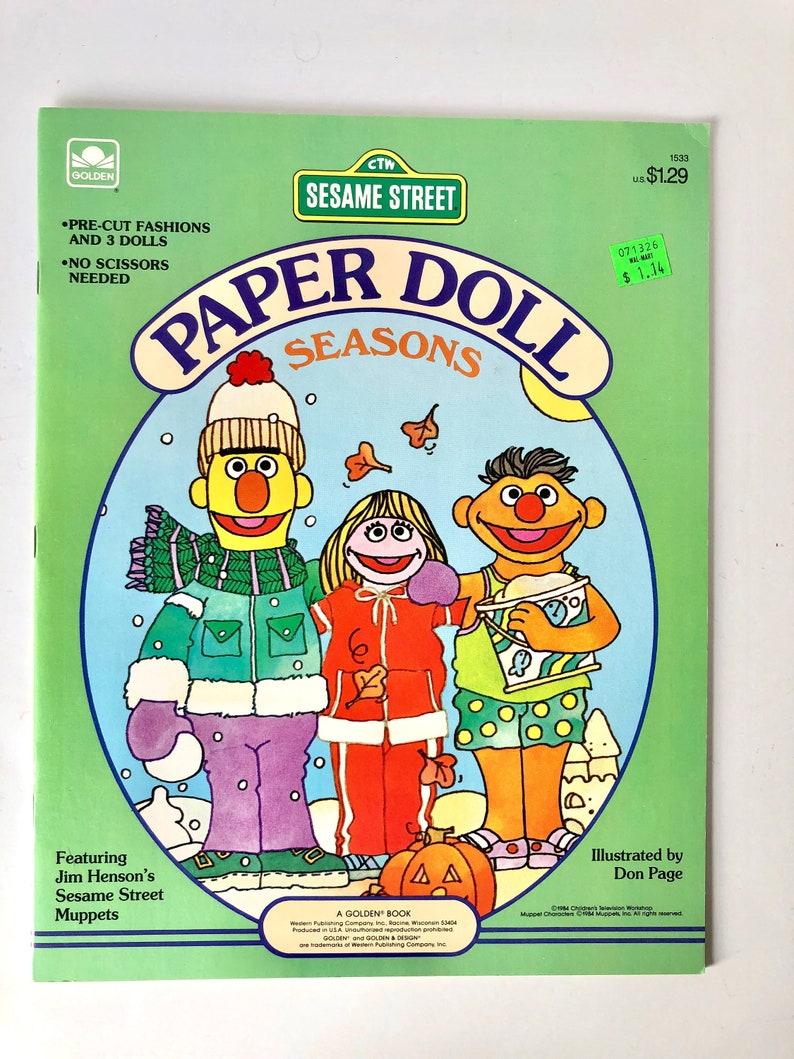 Sesame Street Paper Doll Book Seasons 1984 - New - Uncut