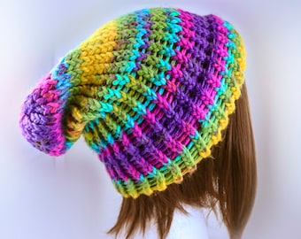 9d1451a4dce Decadent Decay Beanie  Acid  Slouchy Winter Hat Handmade Hypoallergenic  Knitted Crochet Slouch Hipster Goth Colorful Rainbow Warm Stylish