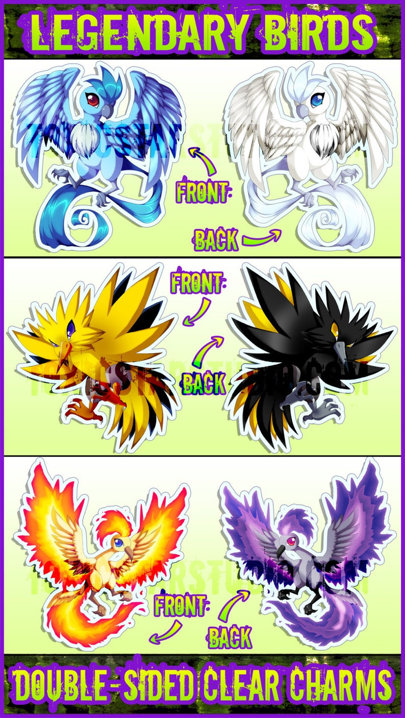 57e4ea092c Charms Pokémon uccelli leggendari | Etsy