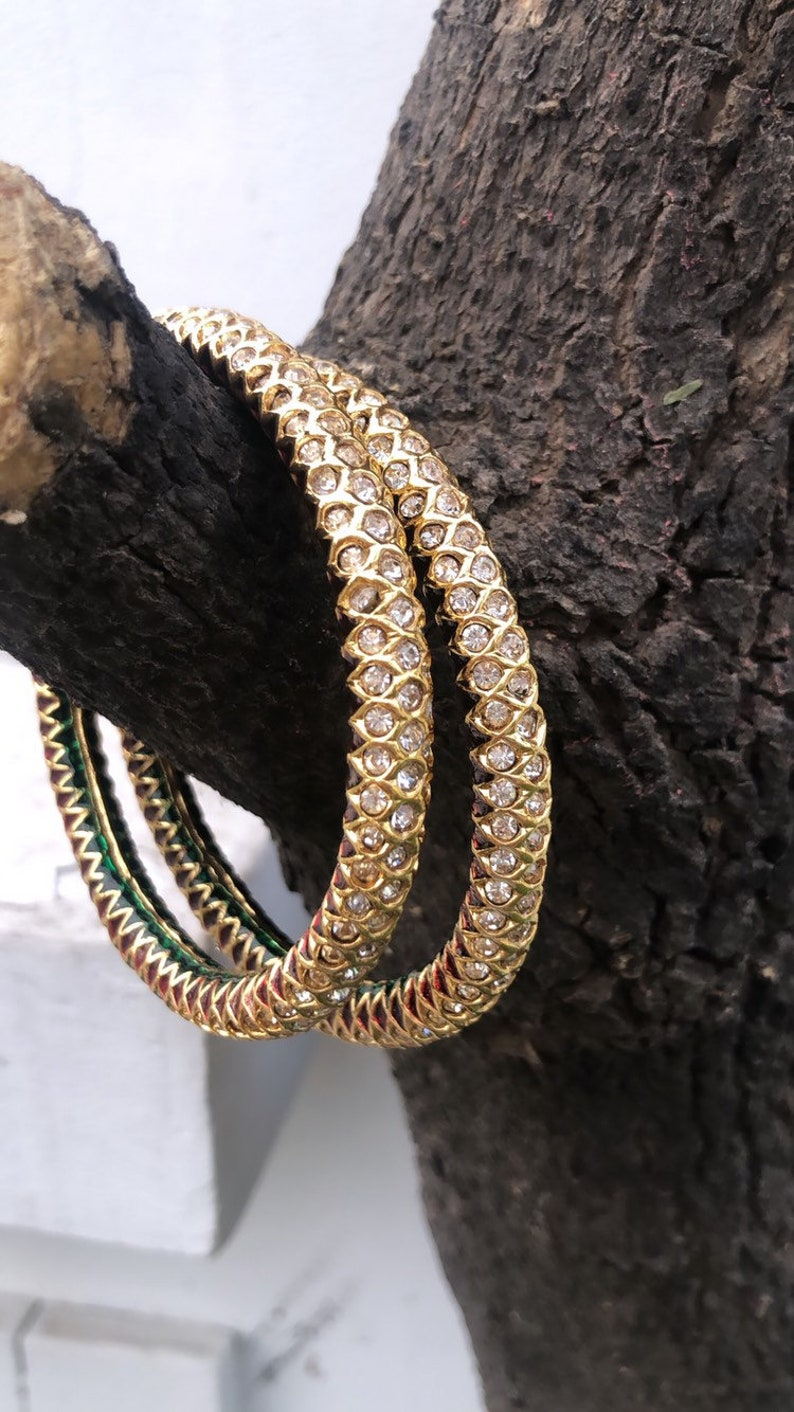 Punjabi Jadau American Diamond Zirconia Bangles Set of 2