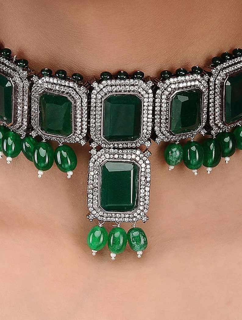 Emerald Green Victorian Work Sabyasachi inspired Choker Necklace Set with Stud Earrings