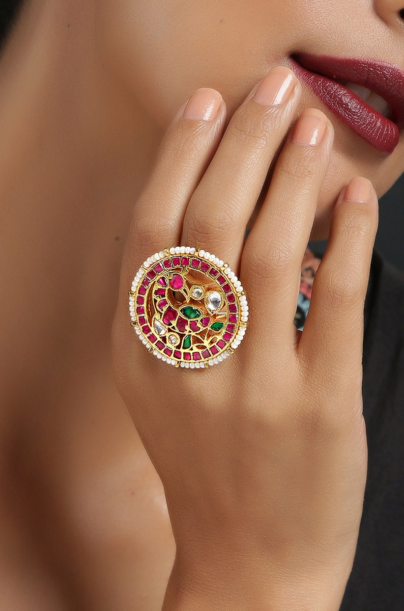 Gold Plated Pink Ring Studded with Pearls Gold Plated Pink Kundan Ring Kundan Ring Pink-Green Kundan Ring