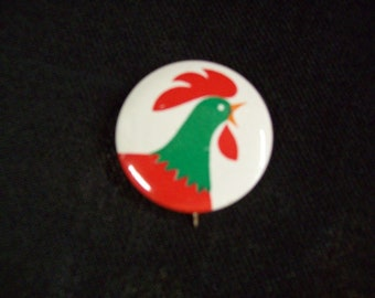 Kellogg Rooster Pinback Vintage Red Green White