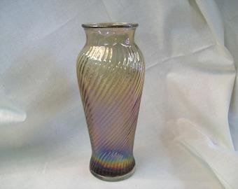 Imperial Marigold Carnival Glass Swirl Vase