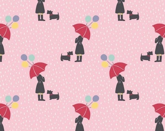 Lady with red umbrella - background pink