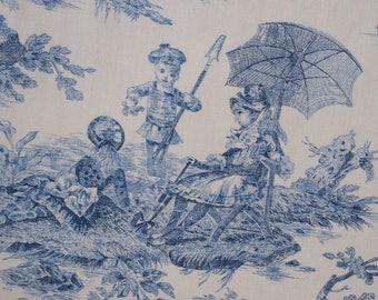 Fabric - Toile de Jouy - Water History - Blue, Rose, Marine and Mustard - Laize 140cm or 280cm - Oeko Tex Standard 100 - Maison Thévenon
