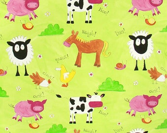 Animals of the farm - green background