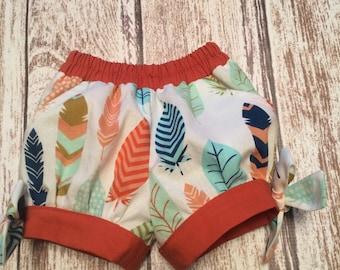 Girl Shorts - Toddler Shorts - Bubble Shorts - Girls Tribal Shorts - Girls Feather Shorts - Girls Summer Shorts - Girl Fall Shorts -