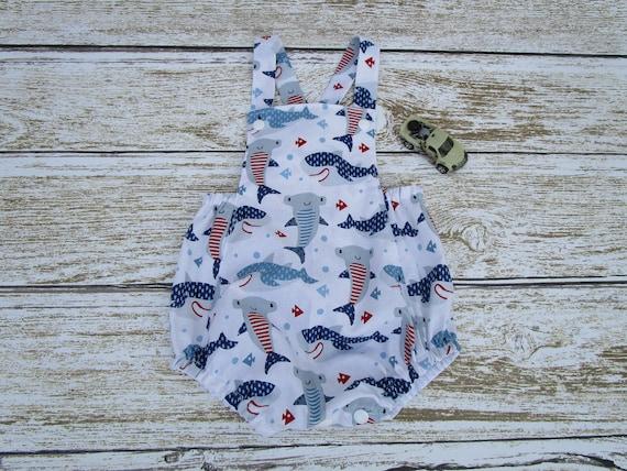 5d158b1c1155 Sharks Baby Romper Sharks Baby Beach Romper Sharks Bubble