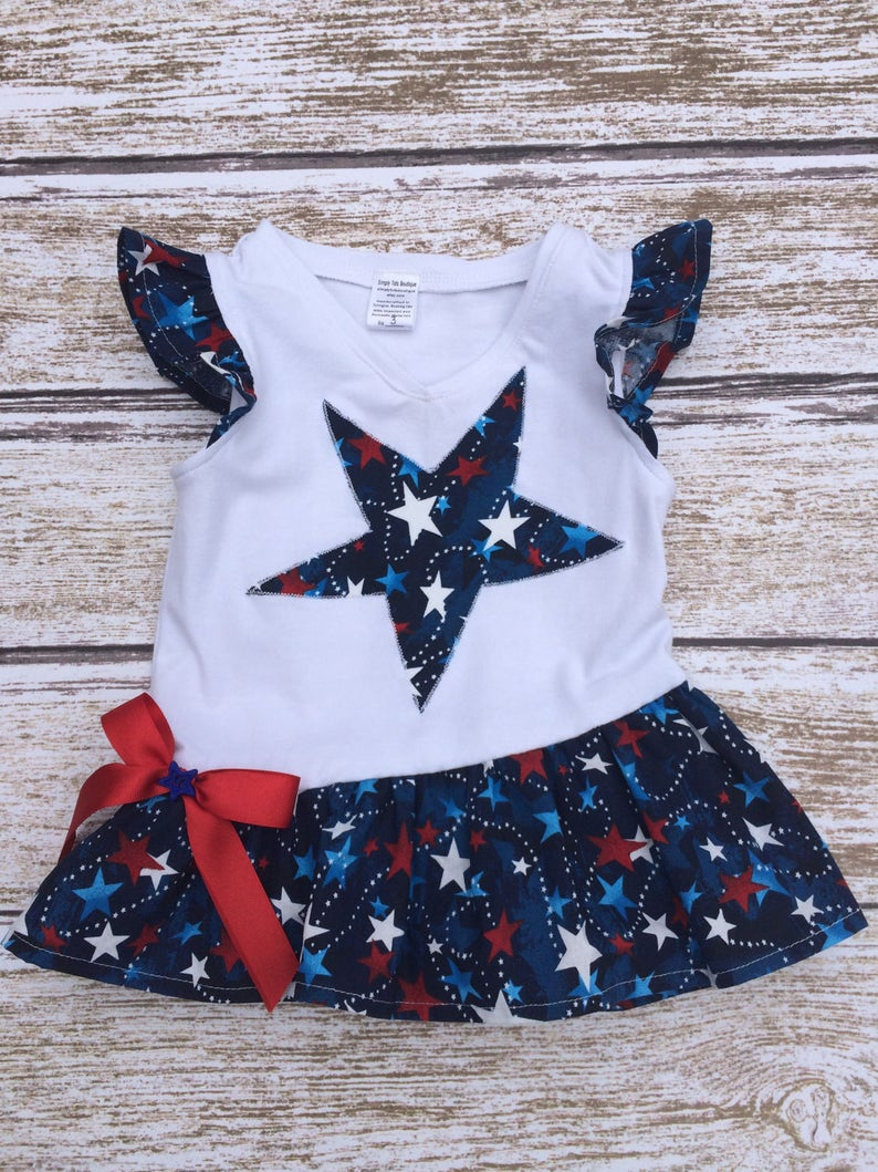 Toddler Capri Outfit Birthday Outfit Capri Outfit Girls Red White and Blue Star Capri Outfit Girls 4th of July Outfit