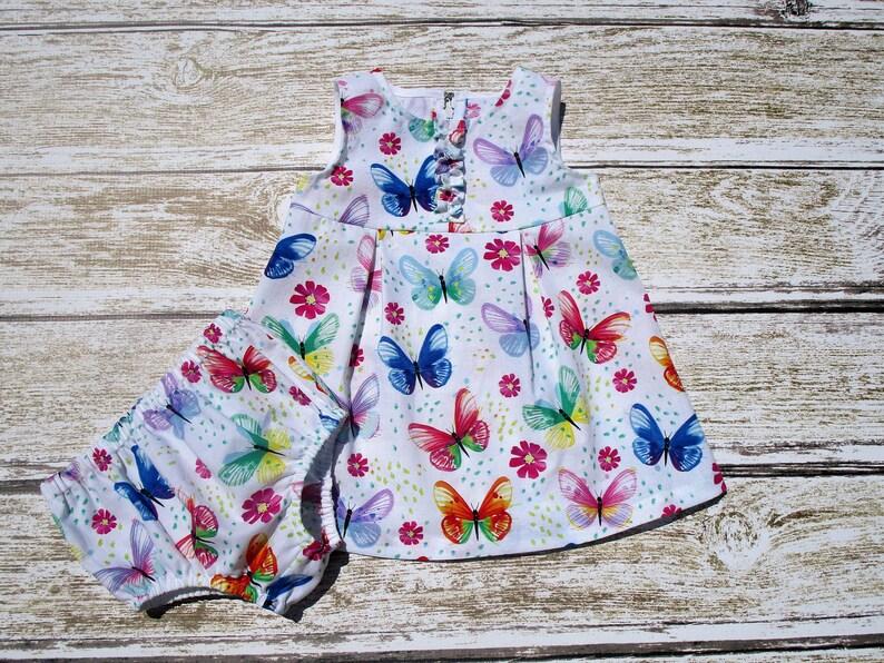 Baby Summer Butterfly Dress Girls Easter DressDiaper Cover Birthday Dress Baby Girl Dress Easter Butterfly Dress and Diaper Cover
