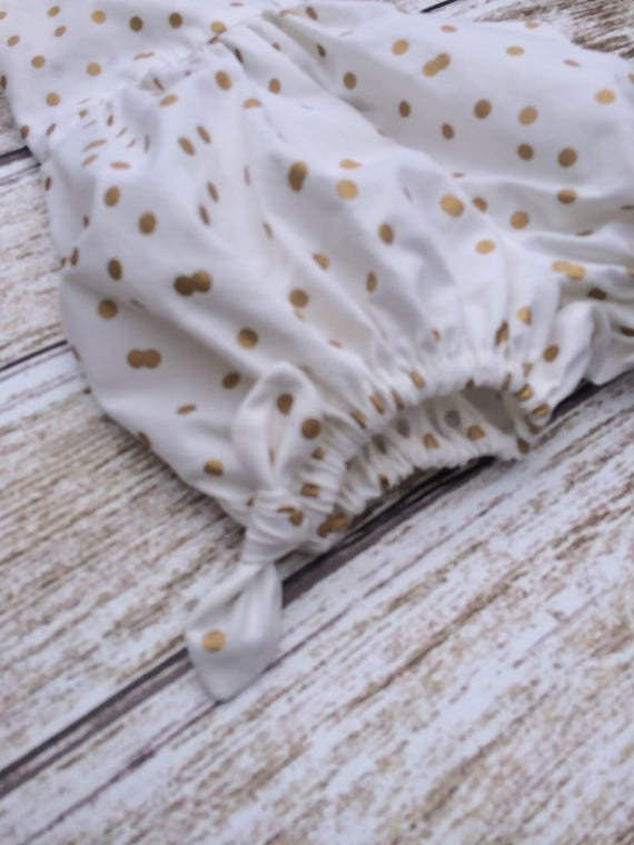 5a70881b8291 Gold Dots on White Bubble Romper Baby Romper Baby Girls