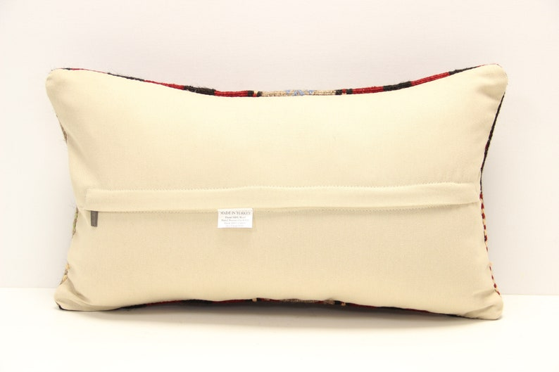 Turkish kilim pillow cover 12x20 inch Armchair Pillow Oriental Knitting Pillow Anatolian Lumbar Throw Pillow Kelim Cushion Cover B-1399