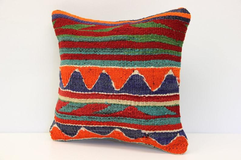 Throw kilim pillow 14x14 inch Anatolian Kelim pillow Turkish Kilim Pillow Kilim Cushion Art deco pillow cover Sofa pillow SL-182 35x35 cm