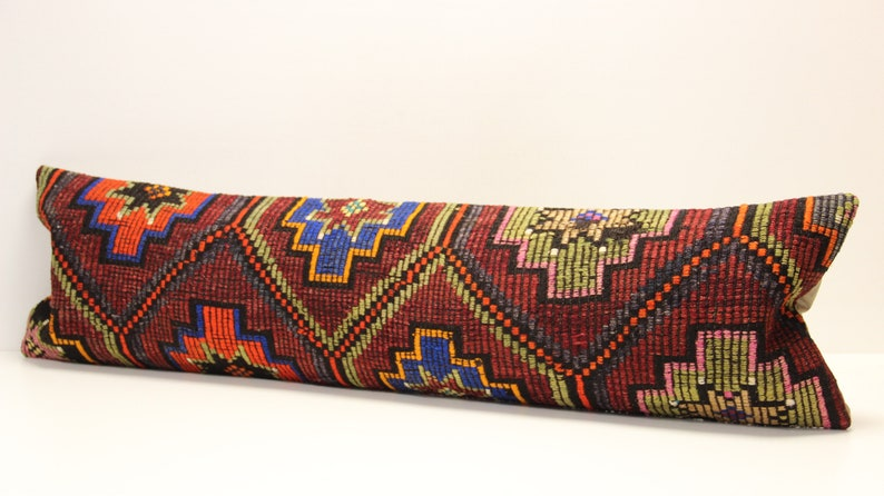 King size kilim pillow cover 14x48 inch Bedding lumbar Kilim pillow cover extra long pillow cover Home Desing Oblong pillow T-455
