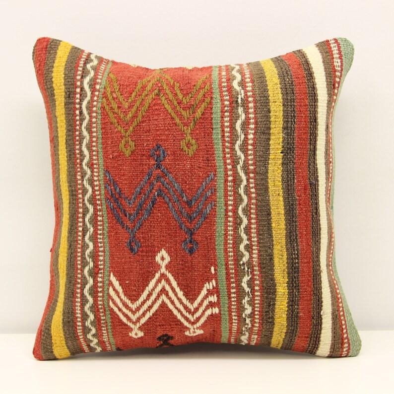 Decorative pillow Boho kelim pillow Interior design Retro Home Decor Natural Dye Kilim Cushion  M-2274 Kilim pillow 16x16 inch 40x40 cm