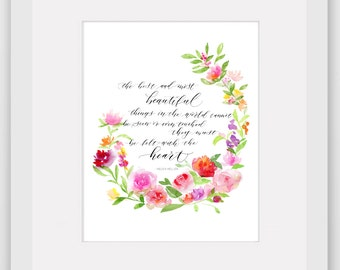 Watercolor Floral Wreath print with quote
