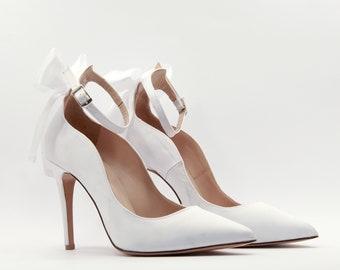 dda7af82dd06e White bridal heels Wedding shoes White bridal high heels   Etsy