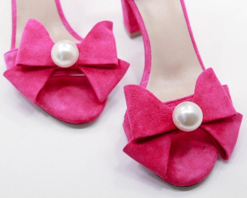 on sale d5c6c c1c3e Wedding shoes pink heels Pink high heels Shoes pink High heels Bridal pink  shoes Bows Pearls Pumps Brautschuhe Bridal wedding shoes pink