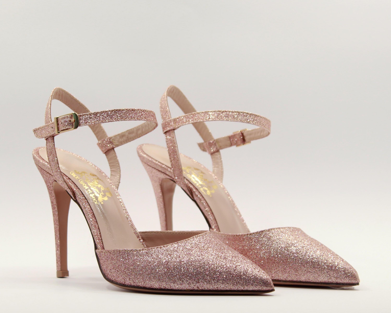 8546bfa9b Rose gold bridal shoes Rose gold heels Glitter shoes Rose gold
